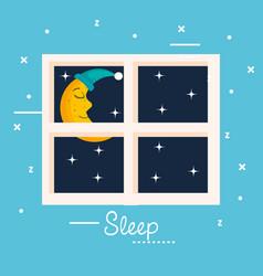 Sleep moon window view star night vector