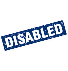 square grunge blue disabled stamp vector image
