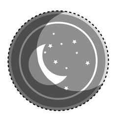 sticker monochrome circular frame with silhouette vector image
