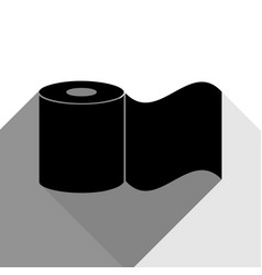 toilet paper sign black icon with two vector image vector image