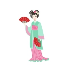 Japanese Geisha With Paper Fans vector image