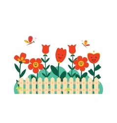 Spring flowers in a small garden vector