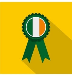 St Patrick day rosette icon flat style vector image