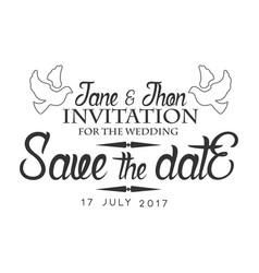 wedding black and white invitation card design vector image