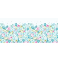 Seashells line art horizontal seamless pattern vector image