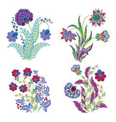 Isolated embroidery flowers decorations set vector
