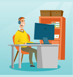 Businessman with headset working at office vector