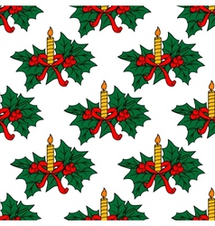 Christmas candles seamless pattern vector