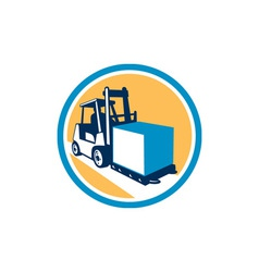 Forklift truck box circle retro vector
