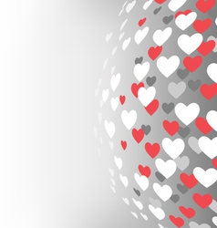 Abstract sphere with hearts on grayscale vector