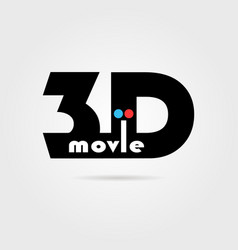 3d movie icon with shadow vector image