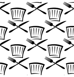 Chef hat with cutlery seamless pattern vector