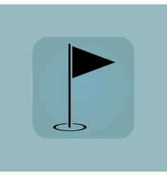 Pale blue flagstick icon vector