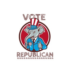 Vote republican elephant mascot thumbs up circle vector