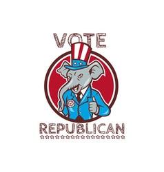 Vote Republican Elephant Mascot Thumbs Up Circle vector image