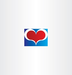 Blue red love heart sign design element vector