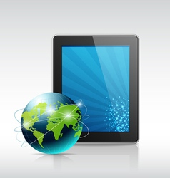 Tablet and blue globe vector