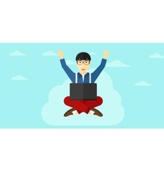 Man sitting on cloud with laptop vector
