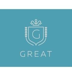 Elegant monogram letter g logotype premium crest vector