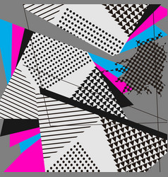 Abstract geometric collage blue magenta pattern vector