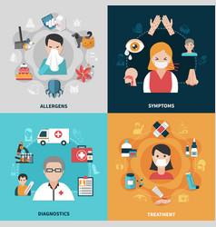 Allergy 2x2 icons set vector