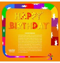 Birthday greetings on an orange background vector image vector image