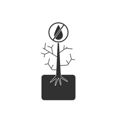 Black icon on white background thirsty plant vector