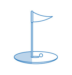 Blue shading silhouette cartoon golf flag with vector