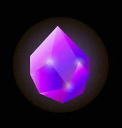 bright shiny uncut violet natural crystal isolated vector image vector image