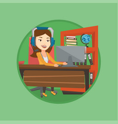 business woman with headset working at office vector image