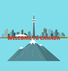 Canada city creek mountain nature skyline peak vector