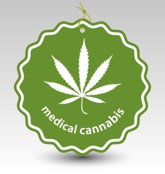 Cannabis marijuana leaf stamp tag label vector