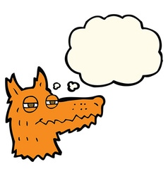 Cartoon smug fox face with thought bubble vector