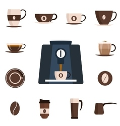 Coffee set flat icon Design set vector image vector image