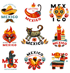 Dead day mexico icons set vector