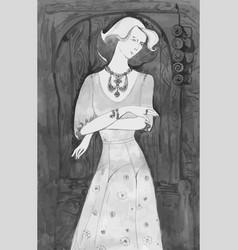 elegant lady vintage llustration vector image vector image