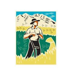 Farmer with scythe standing field retro vector