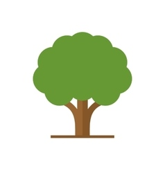Flat Style Tree with Green Leaves Logo vector image