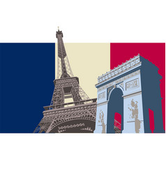 France with paris flag vector