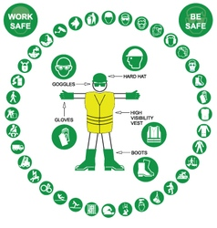 Green circular Health and Safety Icon collection vector image vector image