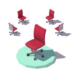 isometric low poly red office chair vector image vector image