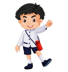 Japanese boy in school uniform vector
