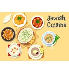 Jewish cuisine dishes icon for kosher menu design vector