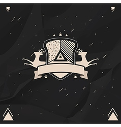 Labels and badges set in hipster style on a black vector image