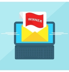 laptop with envelope winner vector image