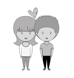 monochrome couple with casual clothes inlove vector image