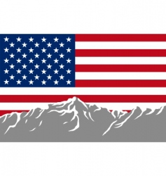 Mountains with flag of usa vector