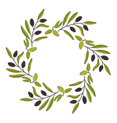 Olive wreath with hand drawn branch vector