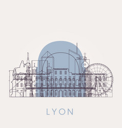 Outline lyon vintage skyline with landmarks vector