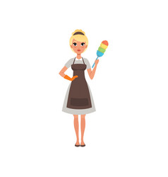 Pretty woman maid holding colorful dust brush vector